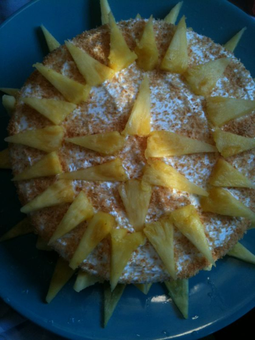 Kosher for Passover Non-Dairy Cream Pineapple Cake.