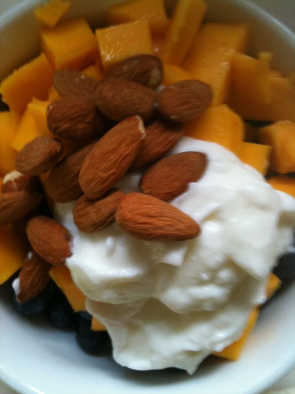 Champagne mango, organic blueberries, almonds and a generous dollop of goat yogurt.